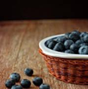 Blueberries In Wicker Basket Poster