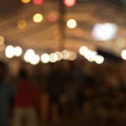 Blurred Delhi Street Scene At Night Poster