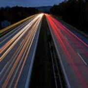 Blurred Lights Lines On Highway Poster