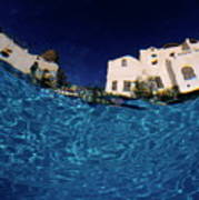 Blurred View Of A Hotel From Underwater Poster