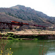 Bnsf Train Along The Wind River Poster
