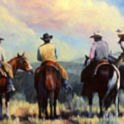 Board Meeting  Cowboy Painting Poster