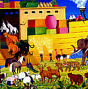 Boarding Noah's Ark At Night Poster