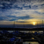 Boat Harbor At Sunset Poster