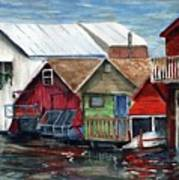 Boat Houses On The Lake Poster