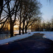 Boat Launch In Winter Poster