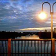 Boat Lights Sunset On Lady Bird Lake Poster