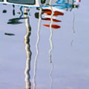 Boat Mast Water Reflection Poster
