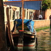 Boat On Canal In Venice Poster