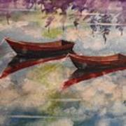 Boat Reflections Watercolor Painting Poster
