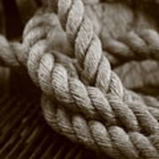 Boat Rope Sepia Tone Poster
