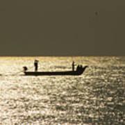 Boat Silhouette In Sunrise At Marina Beach, Chennai Poster
