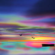 Boat Sunset Poster