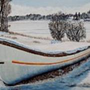 Boat Under Snow Poster