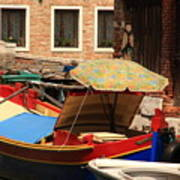 Boat With Umbrella On Canal In Venice Poster