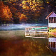 Boathouse In Autumn Oil Painting Poster