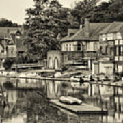 Boathouse Row In Sepia Poster by Bill Cannon