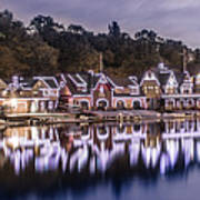 Boathouse Row Night Blue Poster