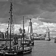 Boats And Shard And Tower Bridge Bw Poster