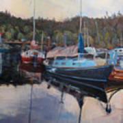 Boats At Dock Heriot Bay Inn Poster