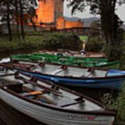 Boats At Ross Castle Killarney Ireland Poster