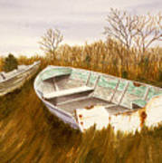 Boats By Causeway Poster