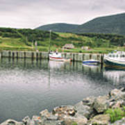Boats Docked In Harbor Cape Bretton Island ,, Nova Scotia Poster