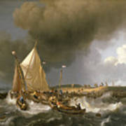 Boats In A Storm  Poster