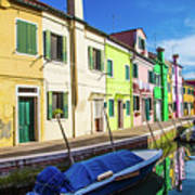 Boats In Burano Poster