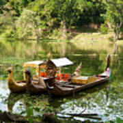 Boats In Lake Ankor Thom Poster
