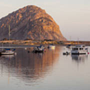 Boats In Morro Rock Reflection Poster