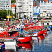 Boats In The Harbor - La Coruna Poster