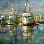 Boats In The Harbor Poster by Ron Hoggard