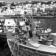 Boats In The Mykonos Harbor Mon Poster by John Rizzuto