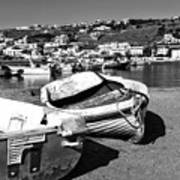 Boats In The Mykonos Old Port Mono Poster by John Rizzuto