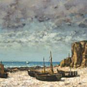 Boats On A Beach, Etretat Poster
