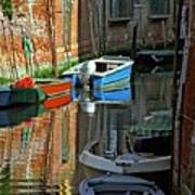 Boats On Canal In Venice Poster