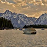 Boats On Jackson Lake At Sunset Poster