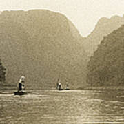 Boats On The River Tam Coc No1 Poster