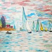 Boats On Water Monet  Poster
