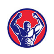Body Builder Flexing Muscles Circle Retro Poster