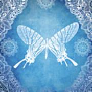Bohemian Ornamental Butterfly Deep Blue Ombre Illustratration Poster