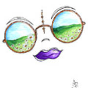 Boho Gypsy Daisy Field Sunglasses Reflection Design From The Aroon Melane 2014 Collection By Madart Poster