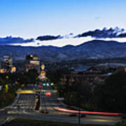 Boise Skyline In Early Morning Hours Poster