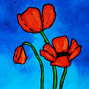 Bold Red Poppies - Colorful Flowers Art Poster