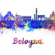 Bologna Skyline In Watercolor Poster