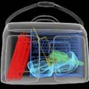 Bomb Inside Briefcase, Simulated X-ray Poster by Christian Darkin