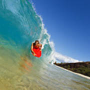 Boogie Boarding At Makena Poster
