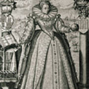Book Frontispiece Celebrating Queen Elizabeth I's Happy And Prosperous Reign Poster