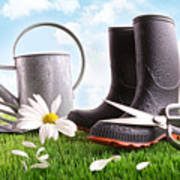 Boots With Watering Can And Daisy In Grass  Poster